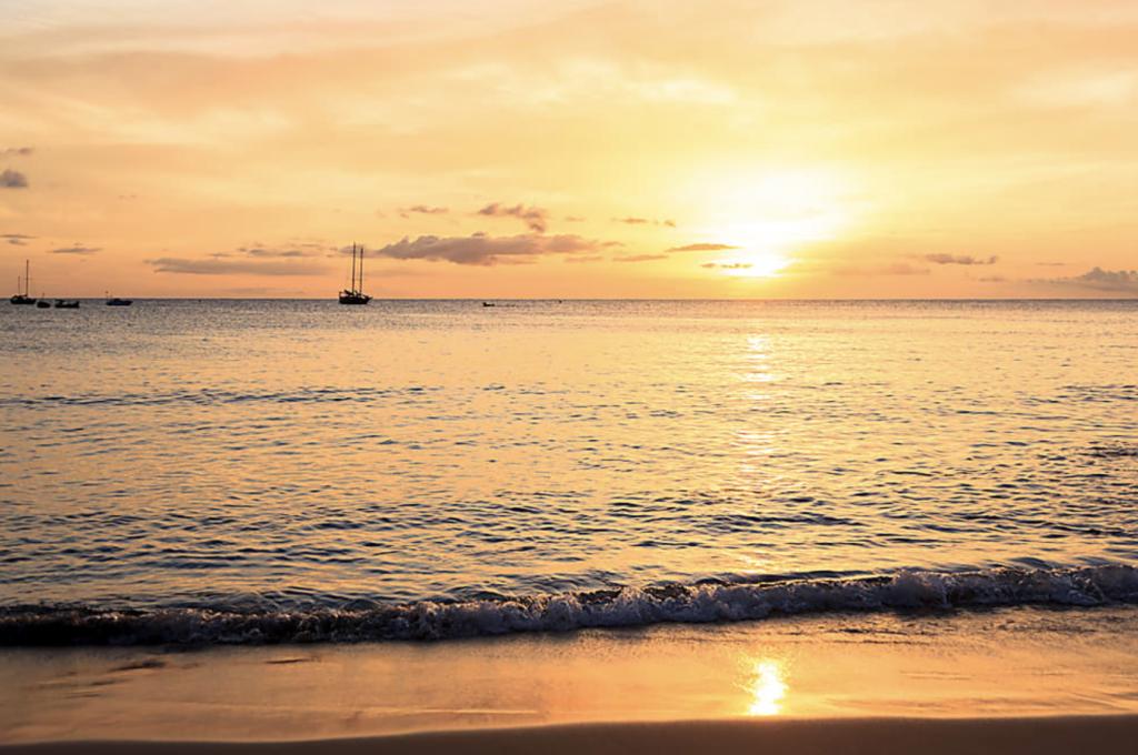 Sunset over the beach, boavista
