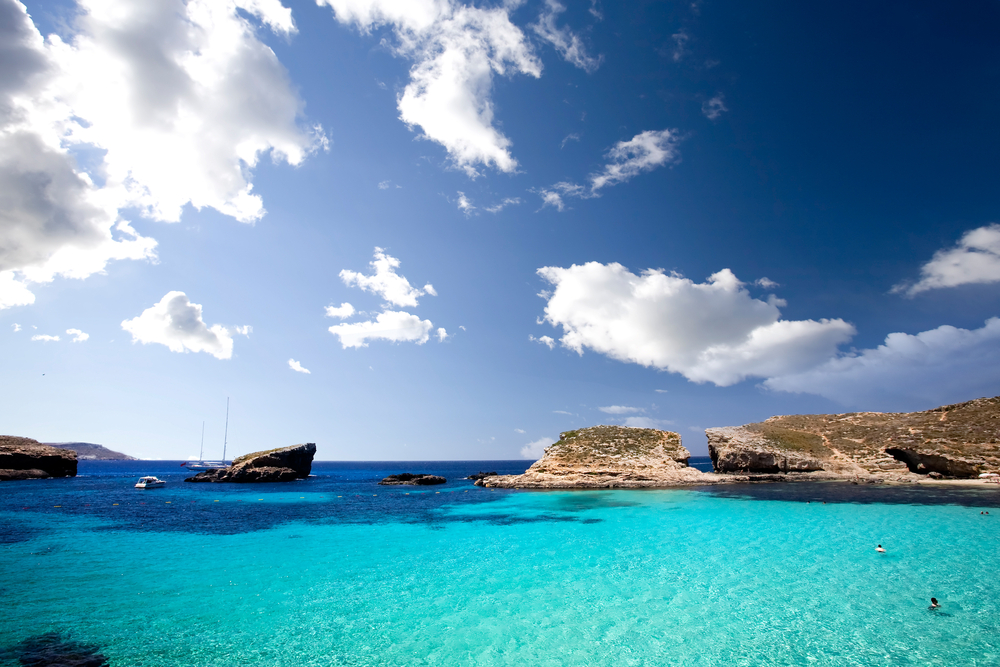 Blue lagoon in Malta on the island of Comino